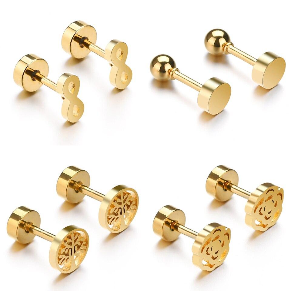 Pendientes con pasador de cristal redondo de elefante de 30 estilos para mujer, pendientes con pasador simples de acero inoxidable a la moda, joyería de oro Brincos