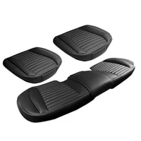 3pcs set new car pu leather seat cover wearproof cushion protect pad with bottom storage bag