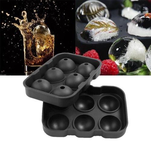 Fabricante de bolas de hielo, bandeja redonda de esferas, molde de cubos, pelota de whisky, cócteles, tinas de helado de silicona