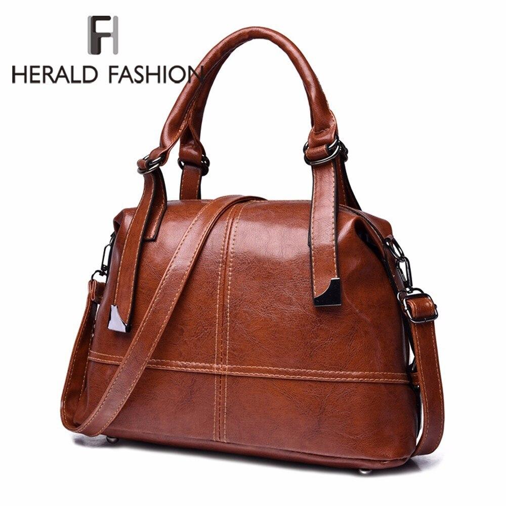 Herald Fashion leather women handbag big capacity vintage tote bag quality women shoulder bag ladies' messenger crossbody bag