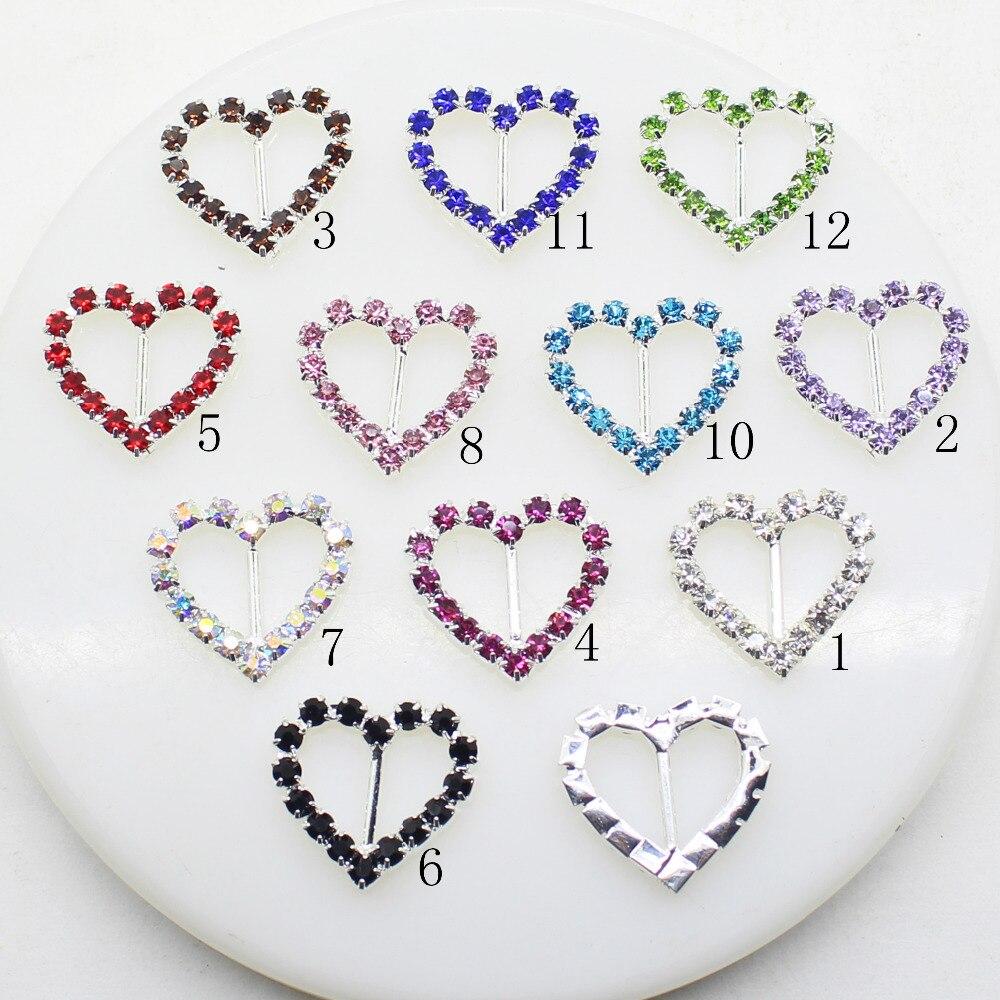 10 unids/lote 20mm * 21mm hebillas de diamantes de imitación de corazón de plata Multicolor, accesorio para el cabello Diy, accesorio de boda brillante