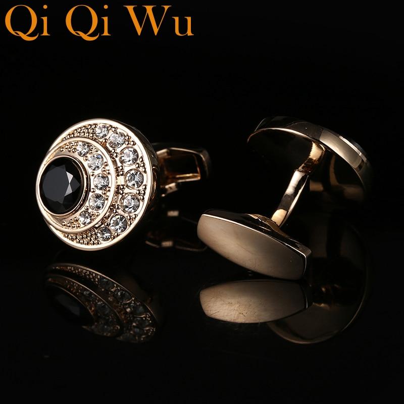 Новинка, мужские золотые запонки для вечерние, свадебные запонки, запонки для рубашек, высококачественные деловые Запонки, бесплатная дост...