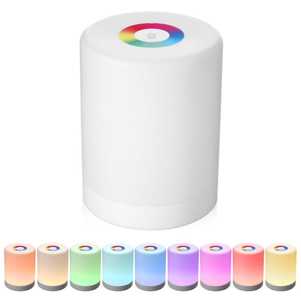 Luz nocturna de control táctil LED inteligente recargable, atenuador de inducción, lámpara de noche inteligente, cambio de Color RGB regulable con gancho