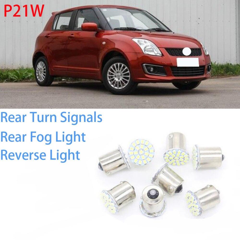 1 juego de 8 piezas de P21W trasero de señal de vuelta de luz de niebla luz LED coche Luz de marcha atrás fuente para Suzuki swift 2005-2013