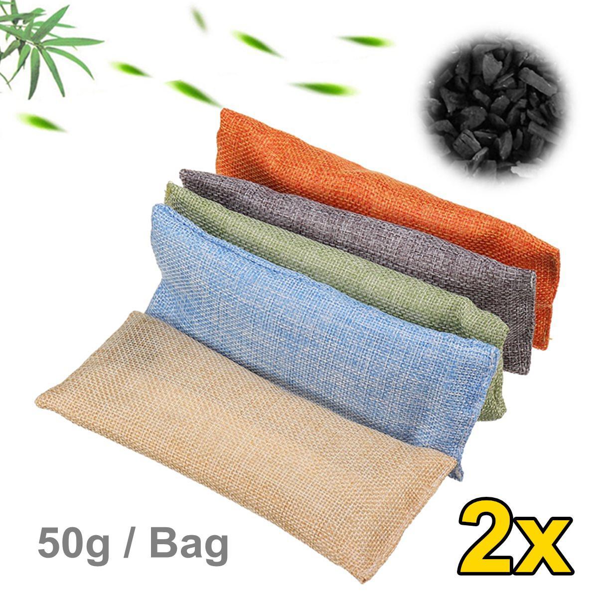 2 bolsas/set purificador de aire para el coche, zapatos para el hogar, deshumidificador de carbón de bambú, eliminador de olores, bolsa purificadora de aire, bolsas ambientadoras naturales