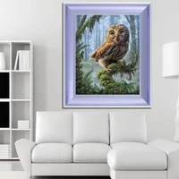golden panno cross stitch embroidery set 14ct owl animal tree cotton line drawing diy needle line dmc home decoration painting