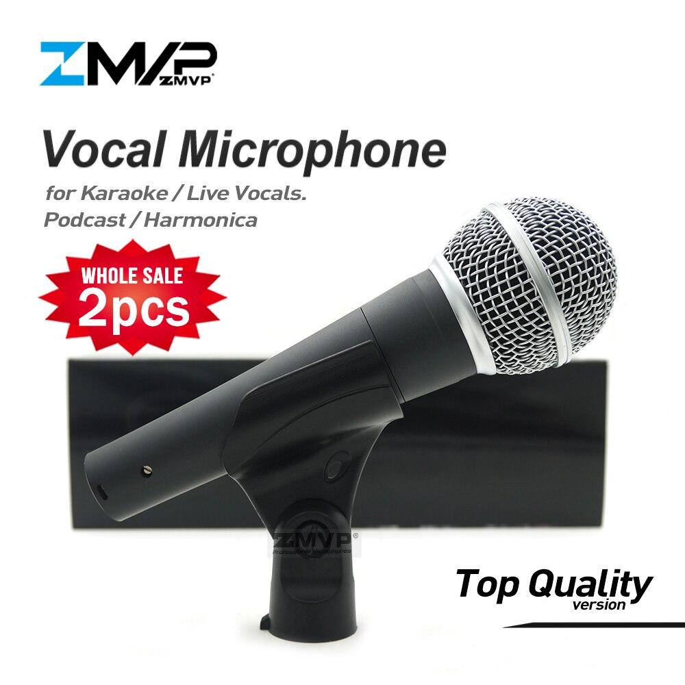 2 uds versión de alta calidad transformador Real vocales en vivo profesionales Karaoke micrófono con cable SM58LC Podcast Microfone 58LC Mic