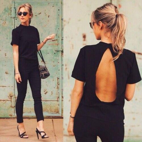 Women Casual Short Backless T-Shirt 2019 New Short Sleeve Loose Summer Cotton T-shirt Solid Tops Shirt Wholesale