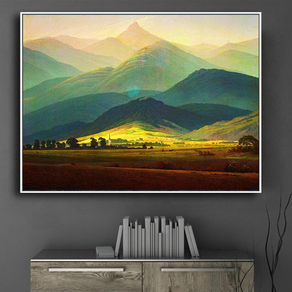 Pinturas de paisaje de lienzo, obra maestra clásica de vida segura, póster de Montaña Gigante, impresión de imágenes artísticas de pared para decoración para sala de estar