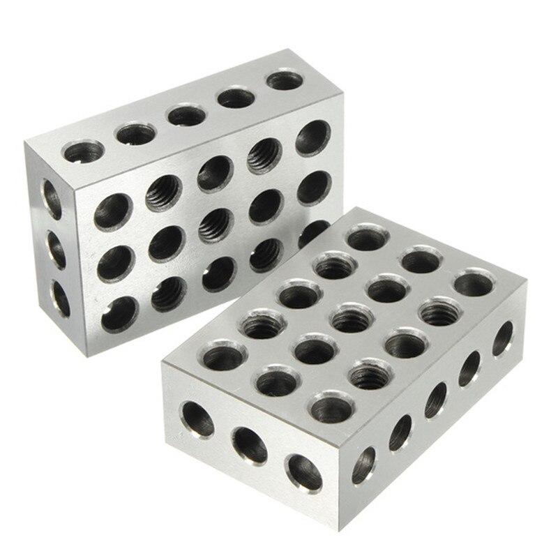 2Pcs Gehärtetem Stahl Block 23 Löcher Parallel Spann Block Drehmaschine Werkzeuge Präzision 0,005mm für Maschine Werkzeug 25x50x75mm