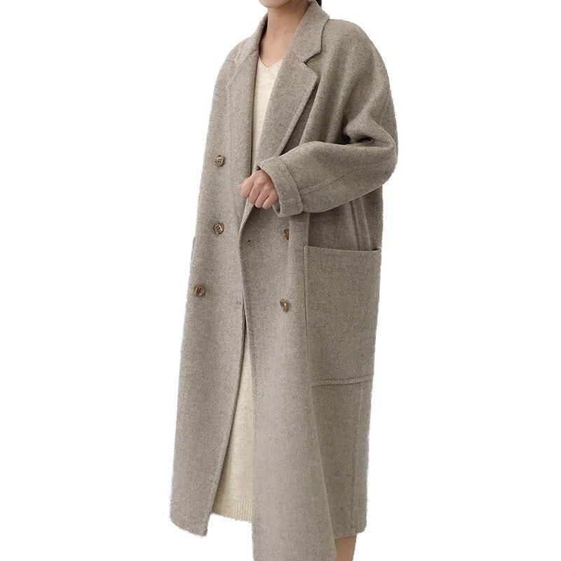 Chaqueta de invierno para Mujer, abrigo de lana de doble cara grueso y largo para Mujer 2018, abrigo fino de Cachemira para Mujer