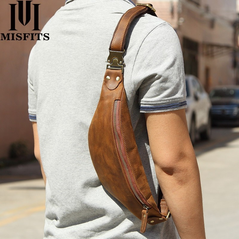 misfits 100% genuine leather men s shoulder bag waist pack fashion small crossbody bags cell phone pouch man belt messenger bags MISFITS cow leather men messenger bag fashion waist pack for cell phone male crazy horse leather chest bag small shoulder bags