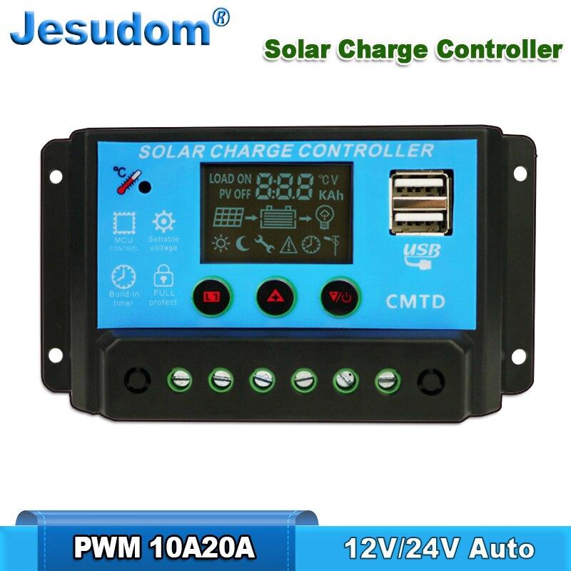 Alta qualidade! 20a10a 12v24v automóvel. Controladores de carregador solar display lcd carregador de banco de bateria carregador pwm com usb duplo 5 v
