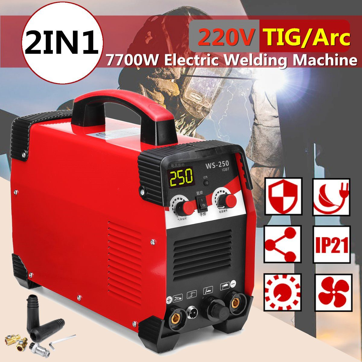 220v 7700w 20-250a tig/soldador a arco máquina de solda elétrica inversor da vara de mma igbt para ferramentas elétricas da máquina de soldadura da tarefa de soldadura