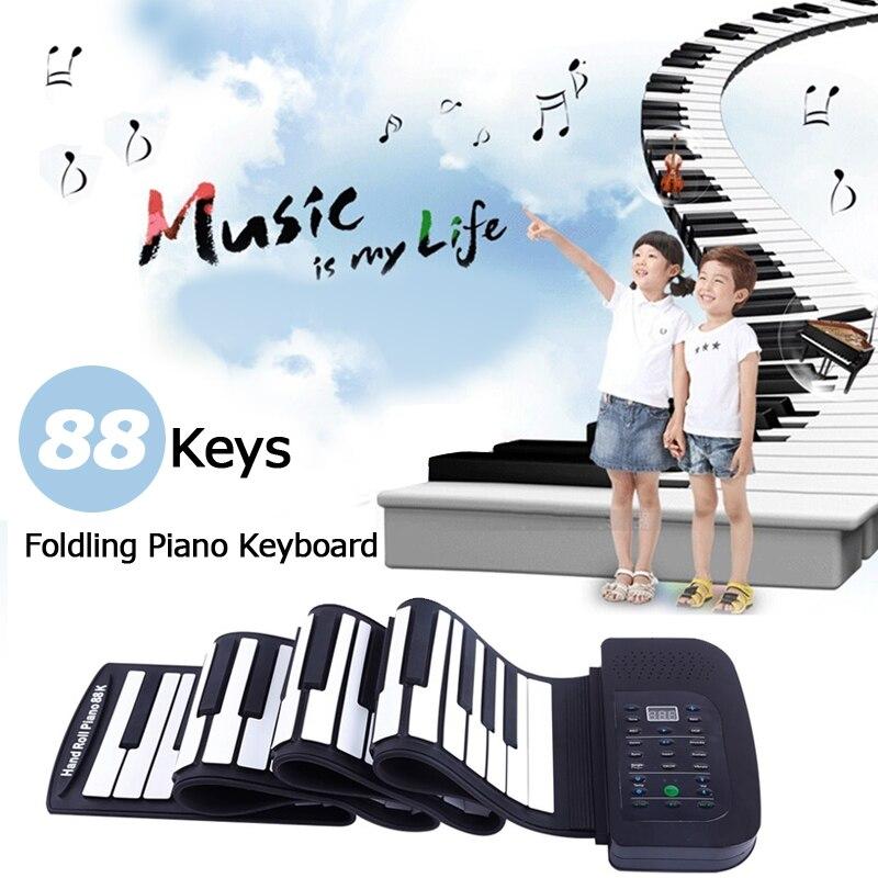 KONIX PA88 портативная 88 клавишная клавиатура пианино 140 тонов электронный складной свернутый миди пианино встроенный динамик с батареей