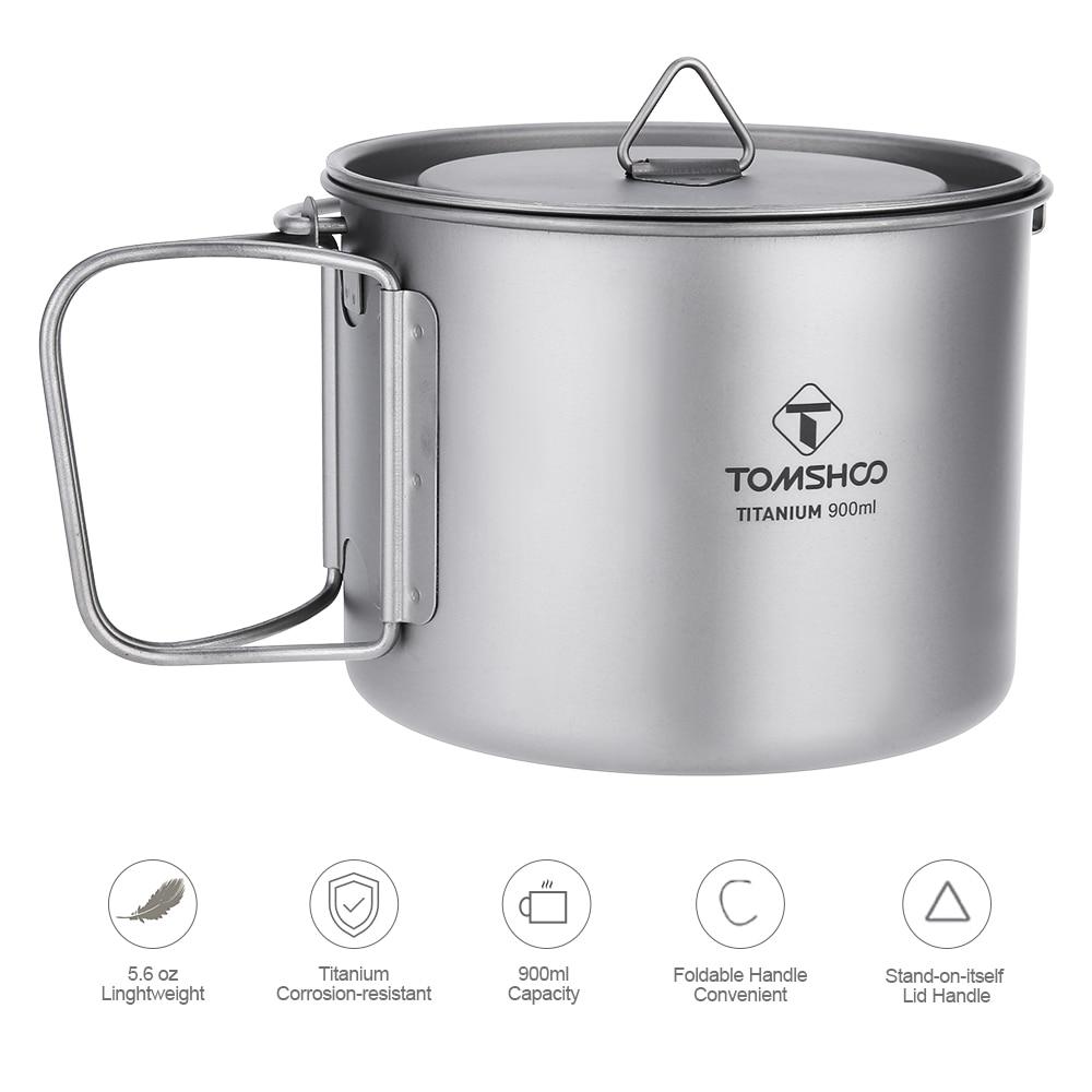 900ML De Água De Titânio Titânio Pote Portátil Copo Caneca com Tampa e Alça Dobrável para Ao Ar Livre de Acampamento Cozinhar Piquenique Talheres