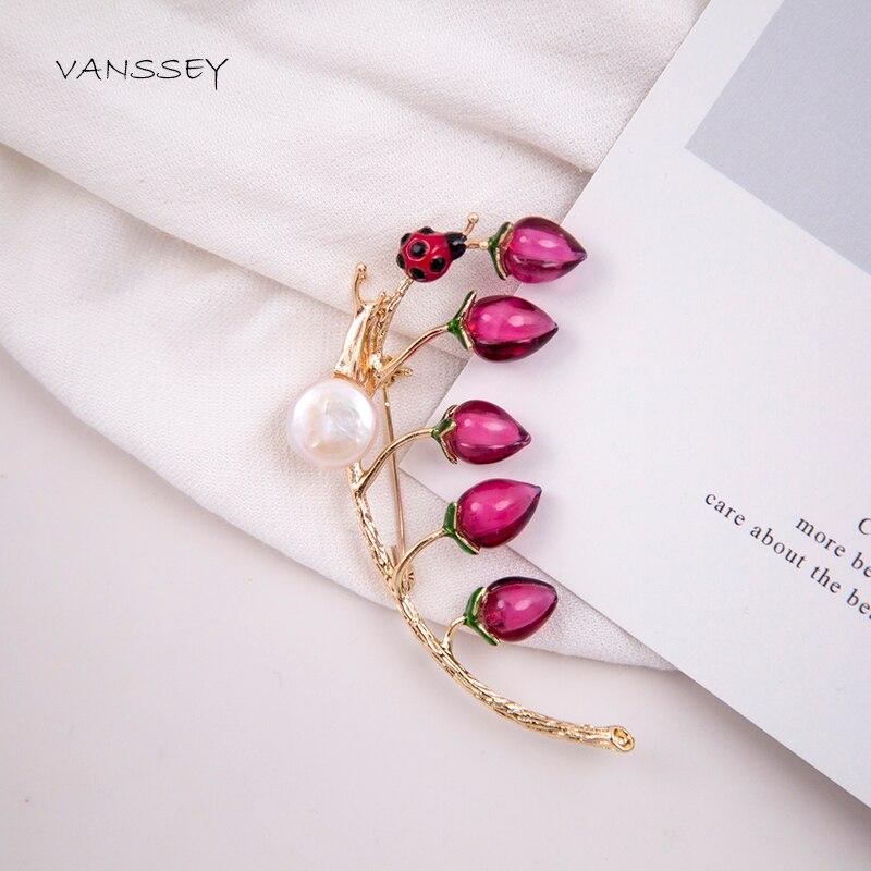 Vanssey Vintage Rama de flor Caracol mariquita Natural Perla Barroca hecha a mano de vidrio esmaltado broche Pin para las mujeres 2020 nuevo