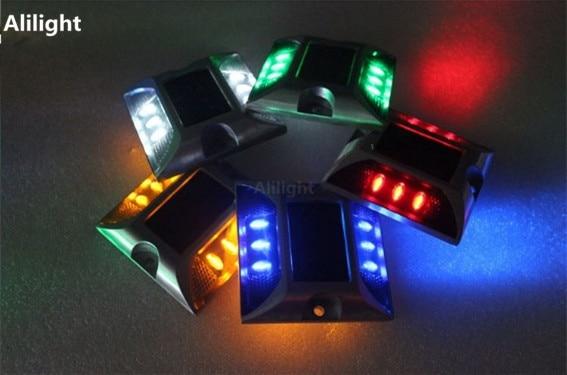 Luces Led impermeables de 360 grados de seguridad para el tráfico, luz de paso Solar, Ojos de gato, postes de aluminio para carretera, lámparas subterráneas