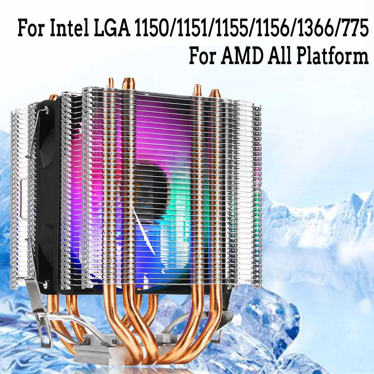 RGB LED CPU Cooler Fan 4pin 4 Heatpipe Dual Tower 12V Cooler Cooling Fan Heatsink for Intel LAG 1155 1156 775 for AMD Socket AM3