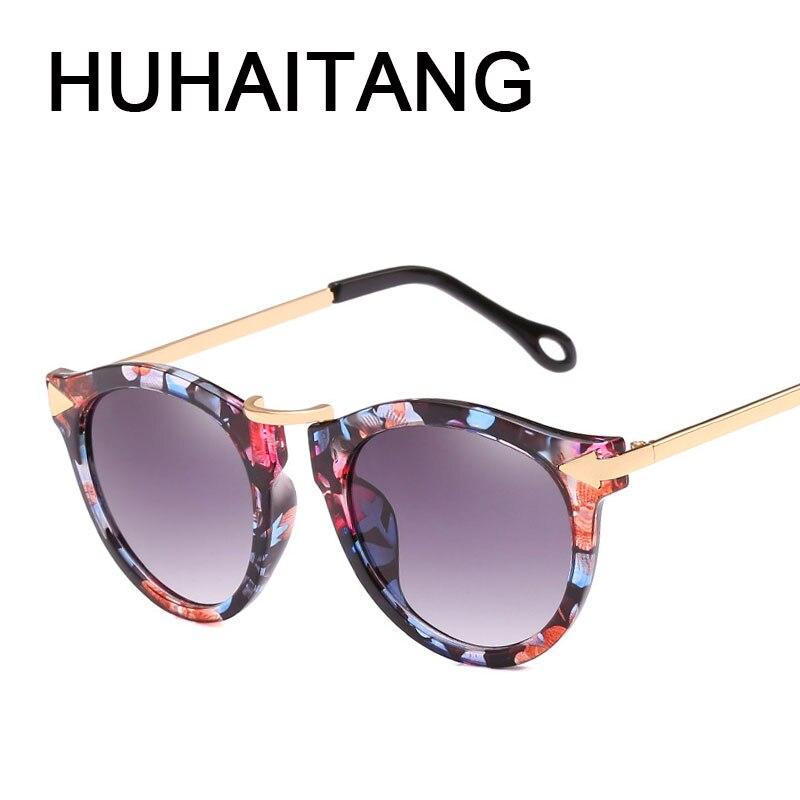 HUHAITANG de ojo de gato gafas de sol de la marca de lujo de las mujeres flecha gafas de sol Vintage tonos para mujer gafas damas flores gafas de sol