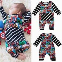 Pudcoco-combinaisons pour garçons   Combinaisons pour superhéros nouveau-né garçon, combinaison en coton à rayures, vêtements