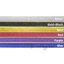 "BRISTLEGRASS 5 Yard 5/8""1.5cm Metallic Glitter Fold Over Elastics FOE Spandex Satin Band DIY HeadBand Hair Tie Lace Trim Sewing"
