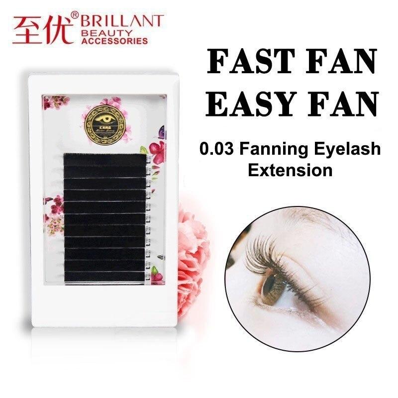 Brillan ventilador de flor automática fácil volume mega excelente enxertia cílios blossom mista grosso iniciante extensão cílios macio 0.03