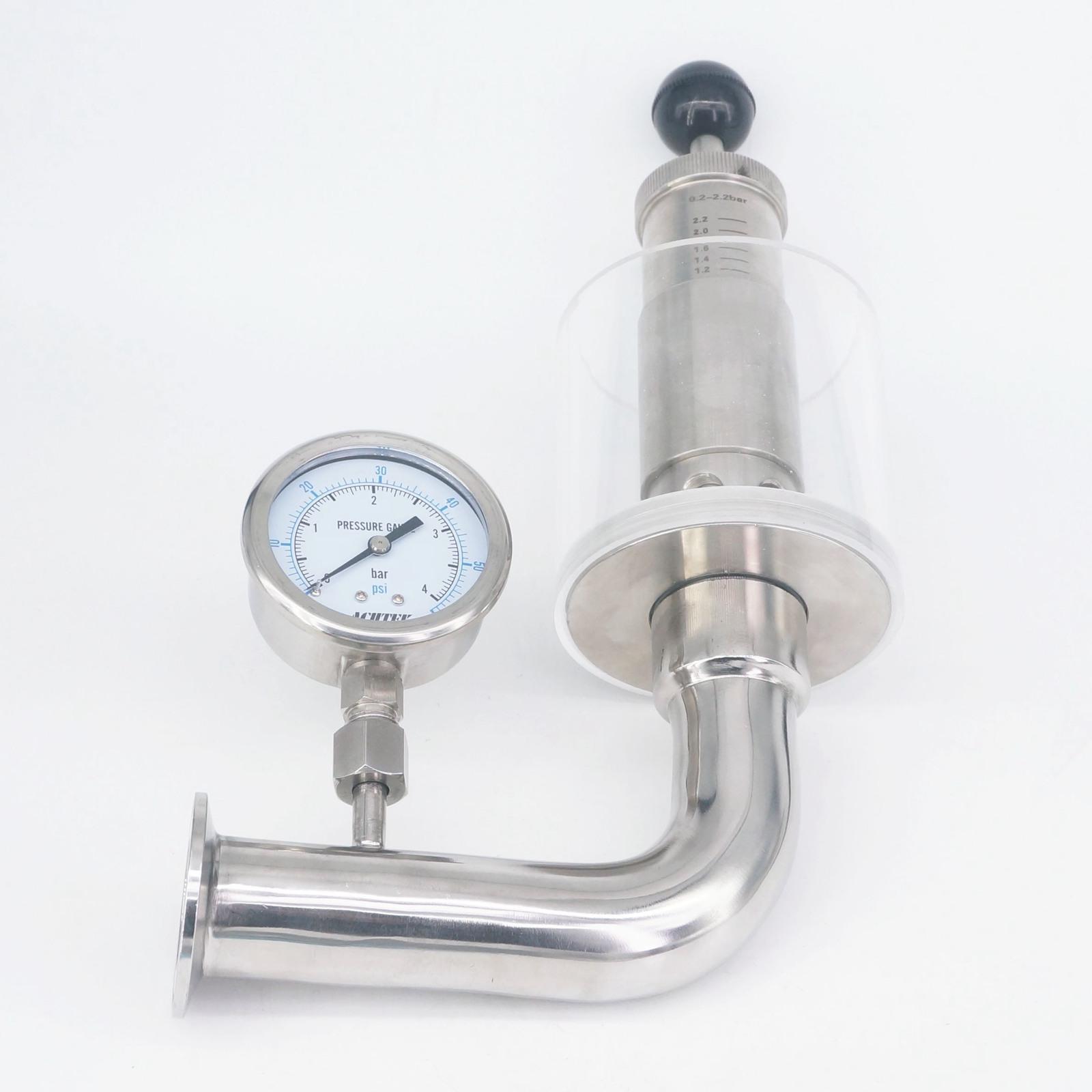 صمام أمان مع مشبك ثلاثي 1.5 بوصة 0.2-2.2 بار ، صمام أمان لتخفيف الضغط الصحي SUS304 مع مقياس ضغط