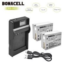 Bonacell 1400mAh NB-10L NB10L NB 10L Batteries + Chargeur LCD pour Canon G1X G15 G16 SX40HS SX50HS SX60HS SX40 SX50 SX60 Bateria L50