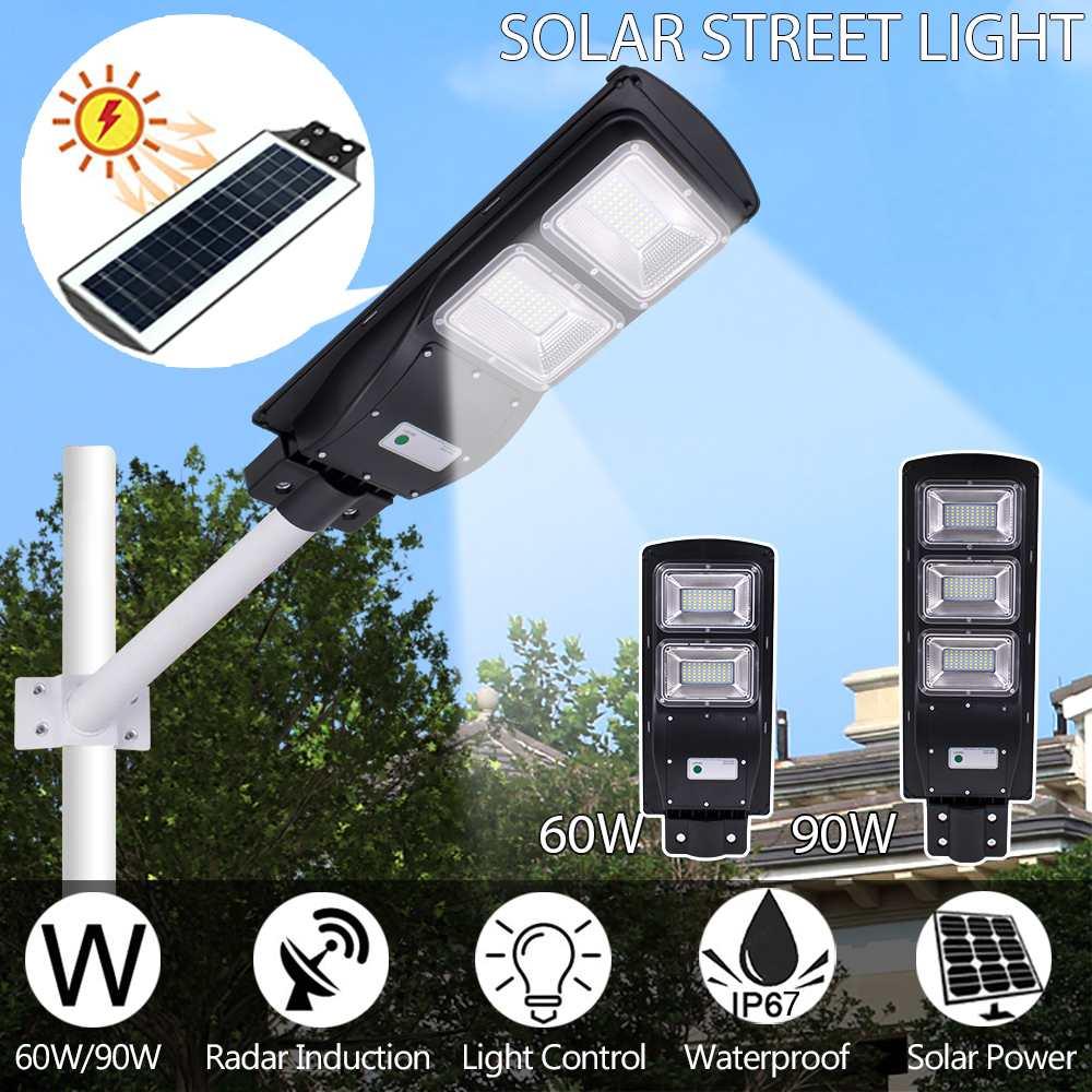 Ip67 à prova dip67 água 60/90 w 120/180led solar radar luz de rua + pir sensor de movimento ao ar livre lâmpadas de parede solar paisagem jardim luzes
