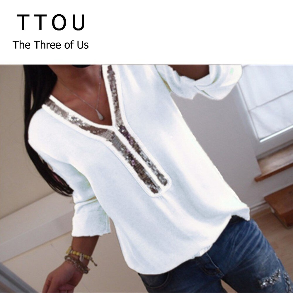 TTOU 2019 New Women Sexy V Neck Sequins Chiffon Blouse Shirt Spring Summer Long Sleeve Black White Blouses Tops Plus Size 5XL