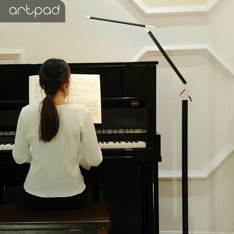Artpad 12 W Moderne LED Piano Lamp Zwart Wit Aluminium Staande Studie Kantoor Floor Lamp Met Afstandsbediening Touch Dimmer