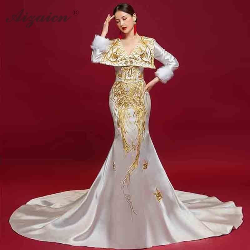 Vestido de noche bordado blanco de manga larga estilo sirena Oriental vestidos de fiesta Boda China Cheongsam vestido de cola Chipao