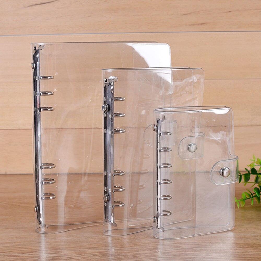 A5/A6/A7 de PVC transparente accesorio para libreta de la hoja de la escuela, la Oficina transparente conciso 6 archivador con agujeros cuaderno planificador semanal de la cubierta