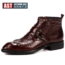 Offre spéciale Crocodile Grain bottes hommes pleine fleur en cuir boucle ceinture chaussures de bureau Zip rétro bout pointu hiver homme bottes