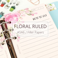 MyPretties rose Floral ligné feuilles de recharge A5 A6 papiers de remplissage pour 6 trou classeur organisateur cahier 40 feuilles papiers
