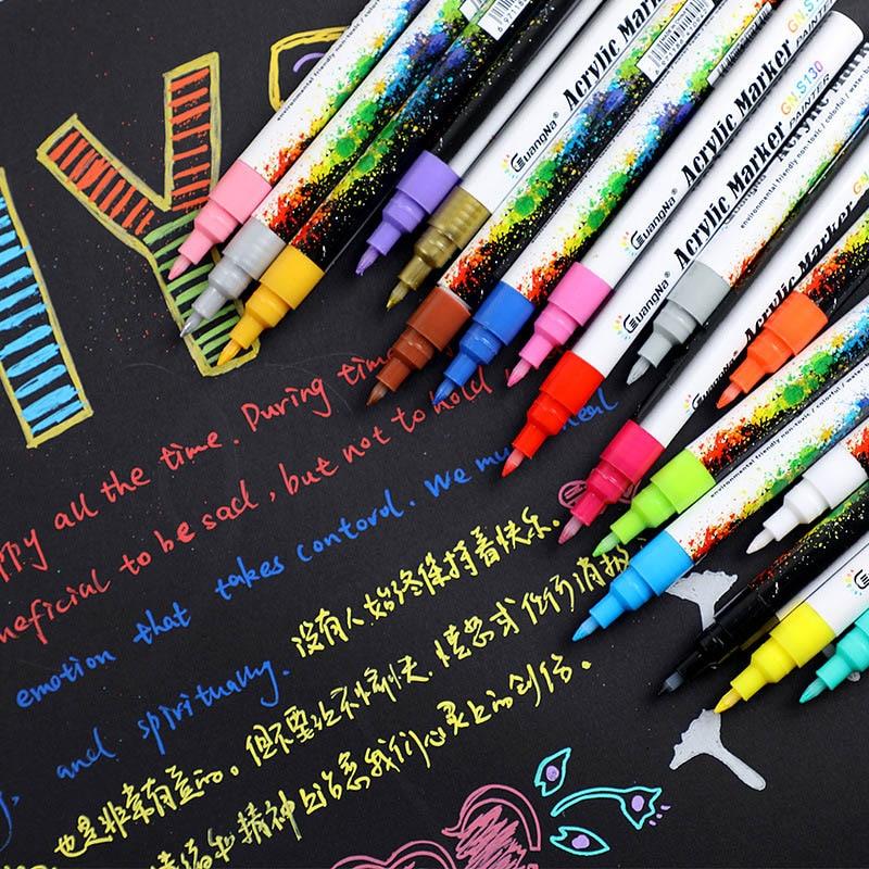 0.5MM Acrylic Drawing Graffiti Marker Pen 18 Colors Signing Pen  Ceramic Black Card Pen Color Drawing Pen School Office Supplies