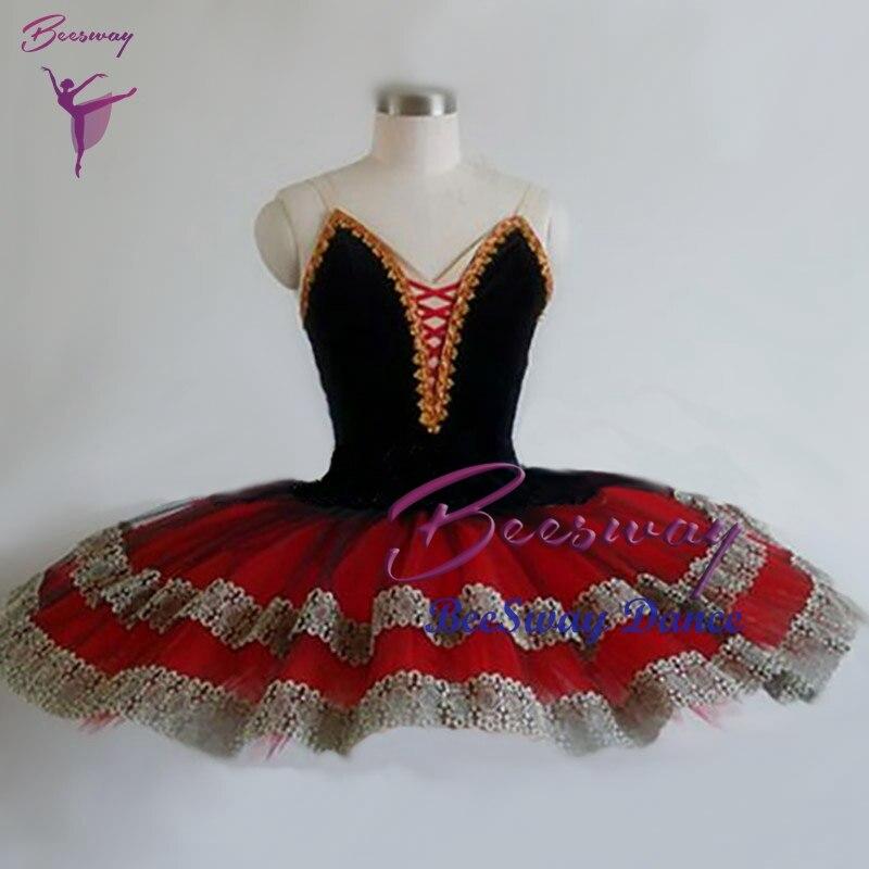 Falda tutú de ballet profesional negro rojo mujer Don Quijote Tutús de ballet clásico vestido bailarina danza traje personalizado
