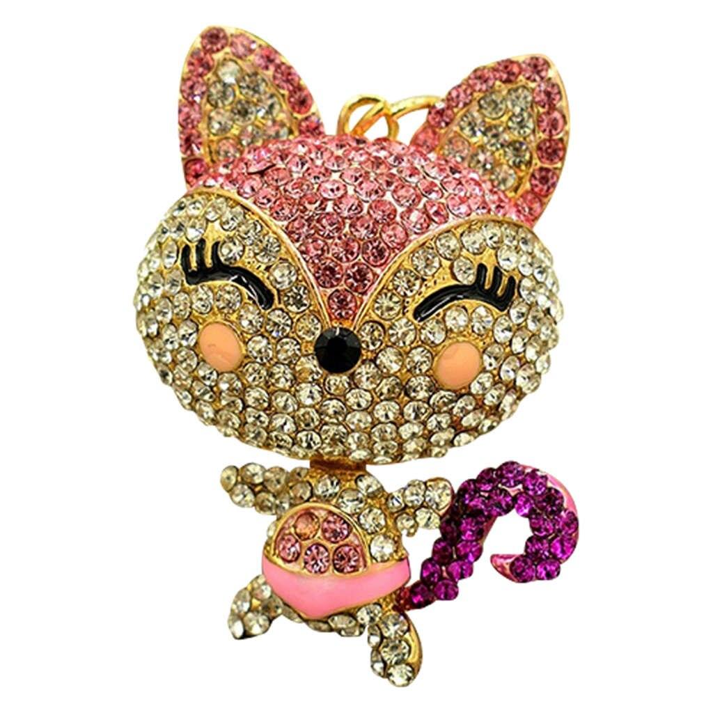 Bonito llavero con anilla para llaves con diamantes de imitación de zorro, bolso de mano, colgante para decoración de coche