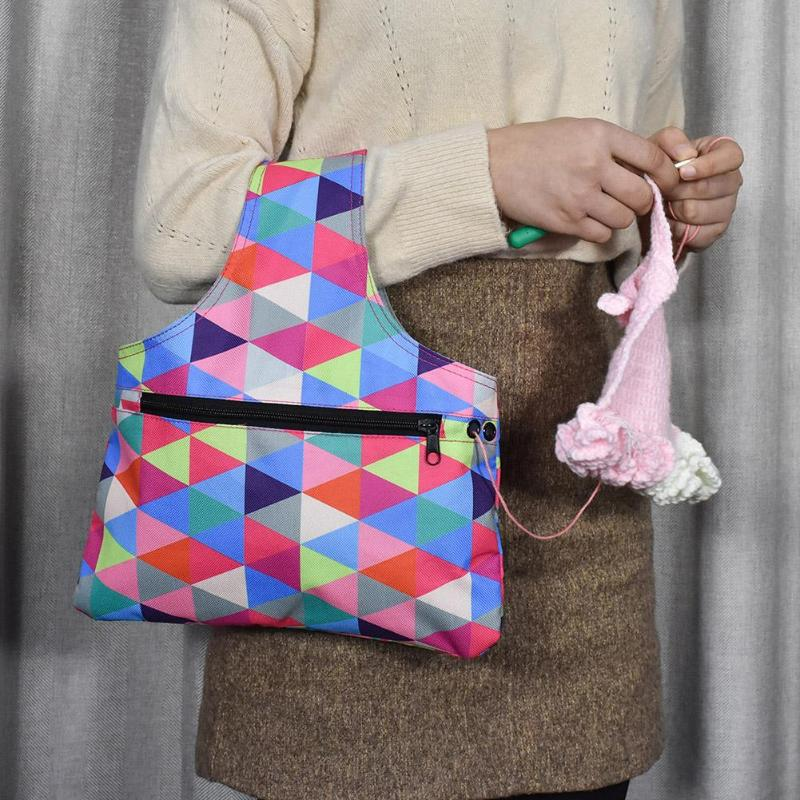Bolsa de almacenamiento de agujas de tejer portátil tela Oxford impermeable hilo ganchillo bolsa de punto DIY organizador artesanal para almacenamiento de hilo