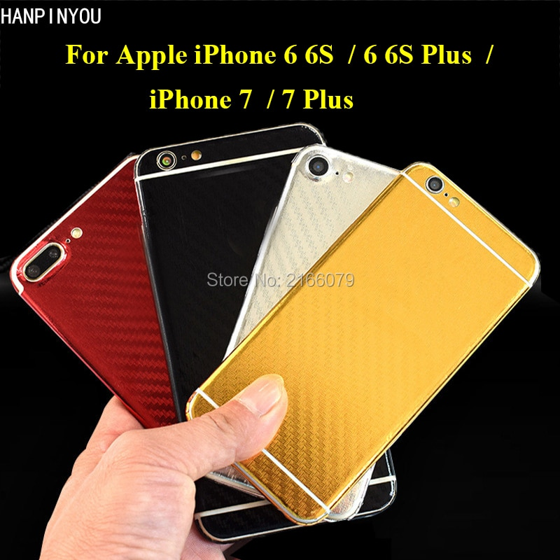 Capa traseira galvanizada de fibra de carbono, para celulares apple iphone 6 6s plus/7 plus 3d película adesiva protetora