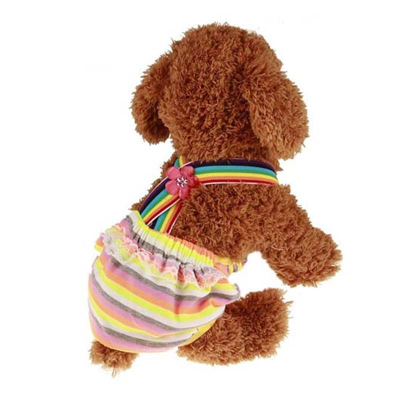 Полосатые многоразовые подгузники для собак, физиологические штаны, короткие подгузники, гигиенические моющиеся женские трусики, менструа...