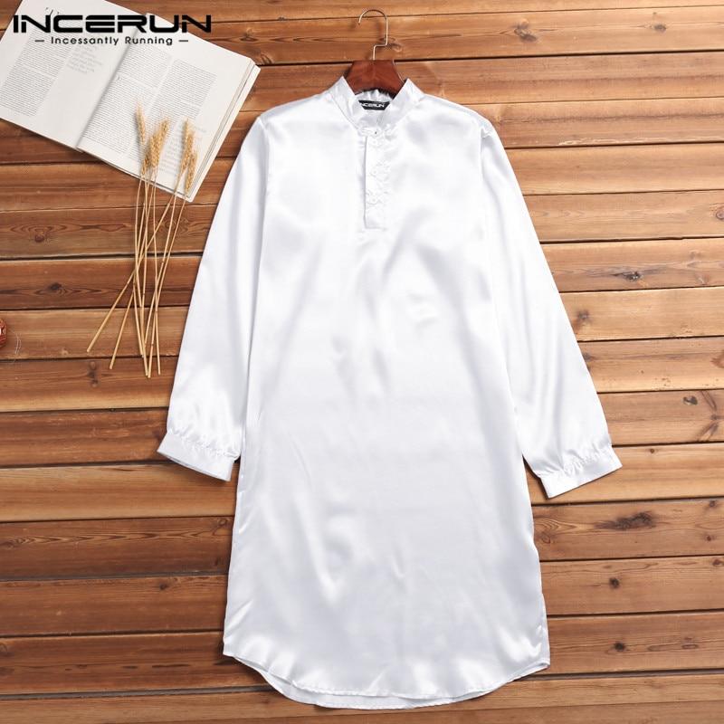 INCERUN Silk Satin Männer Robe Pyjamas Lange Bademantel Lounge Ropa Arabe s Anzüge Kleid Hemd Kleid Masculina Islamischen Männer Kleidung