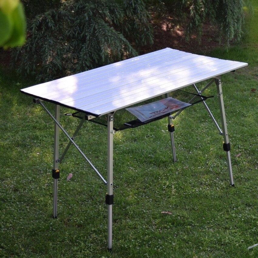 Primavera Verano, pesca al aire libre, aleación de aluminio, plegable, Picnic, Camping, mesa de barbacoa, portátil, rollo de pollo de publicidad, escritorio