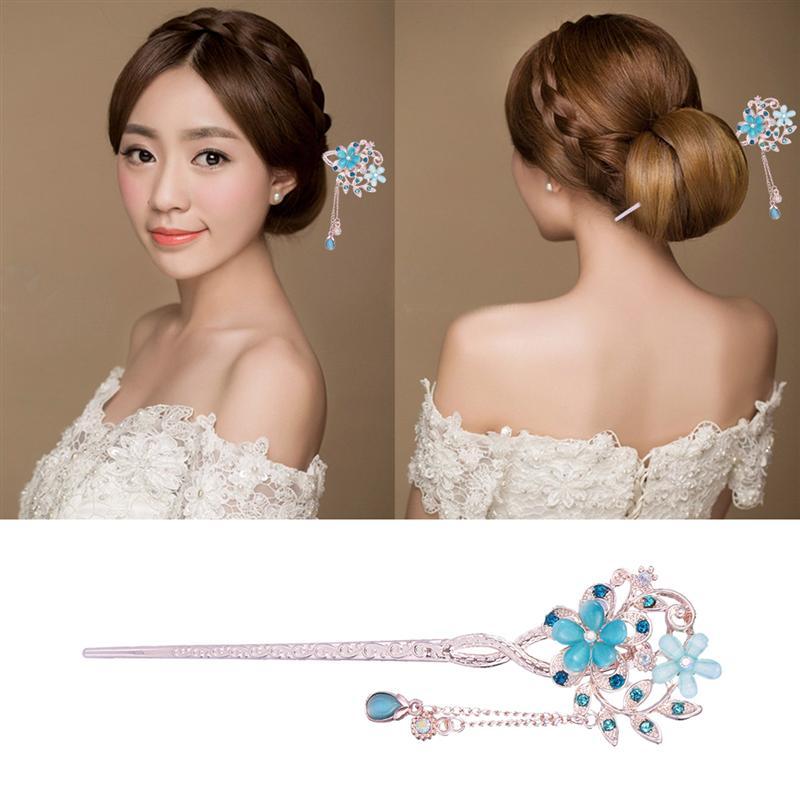 Vintage vara de cabelo opala flor pauzinhos de cabelo decoração do cabelo chinês grampos de cabelo antigo grampo de cabelo