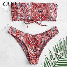 ZAFUL ethnique à lacets Bandeau Bikini 2 pièces ensemble bretelles rembourré maillot de bain ethnique Bandeau réversible Vintage pull maillots de bain