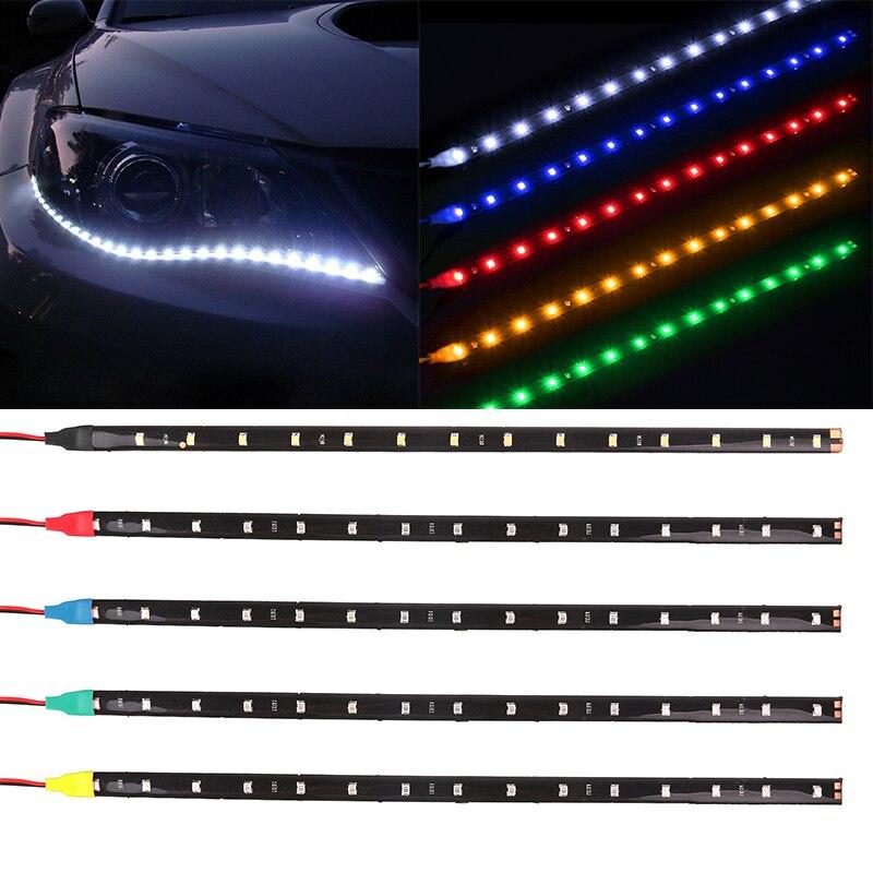 Водонепроницаемая Автомобильная декоративная гибкая светодиодная лента высокой мощности 12 в 30 см 15SMD, Автомобильный светодиодный дневный ...