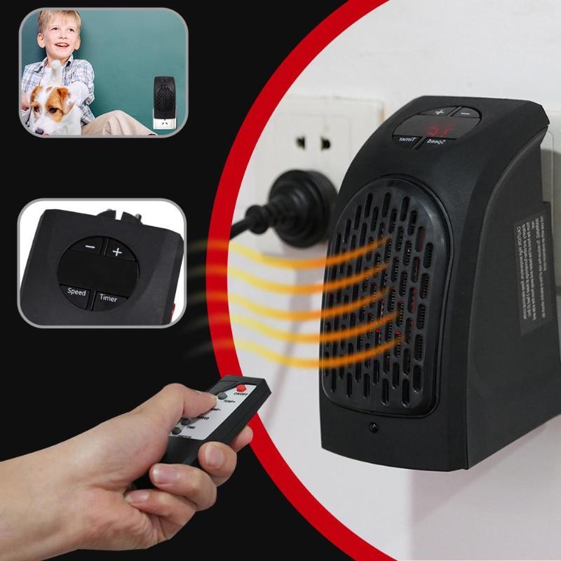 Mini ventilador calefactor portátil de 400W calentador de pared eléctrico con Control remoto para dormir calentador de interior 2 modos de calentamiento rápido ajustable