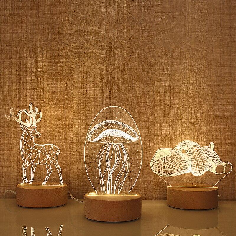 Деревянная основа 3D LED Настольная лампа медузы Сова ночник USB питание свет деревянный + смола мульти-дизайн лампа для детской спальни