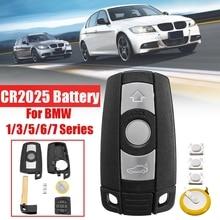 Avec lame batterie à distance 3 boutons voiture clé coque étui style couverture garniture pour BMW 1/3/5/6/7 série E90 E92 E93 E60 E61 X1 X5 X6